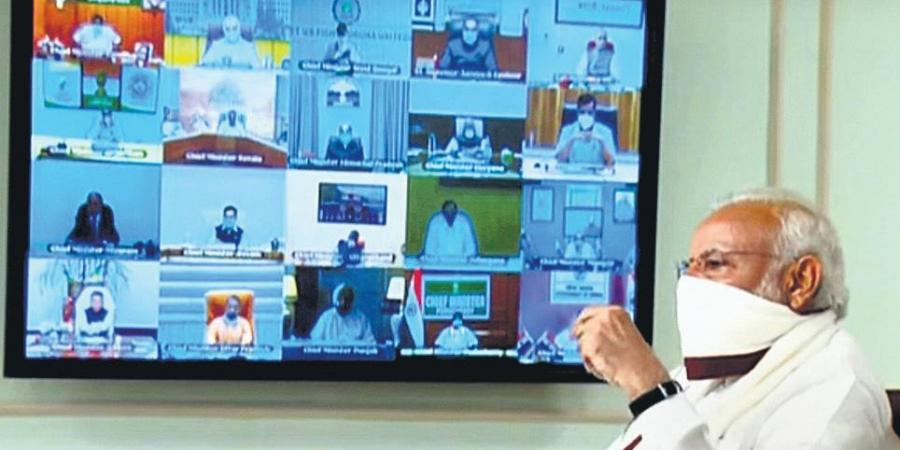 modi reviews meeting with cm